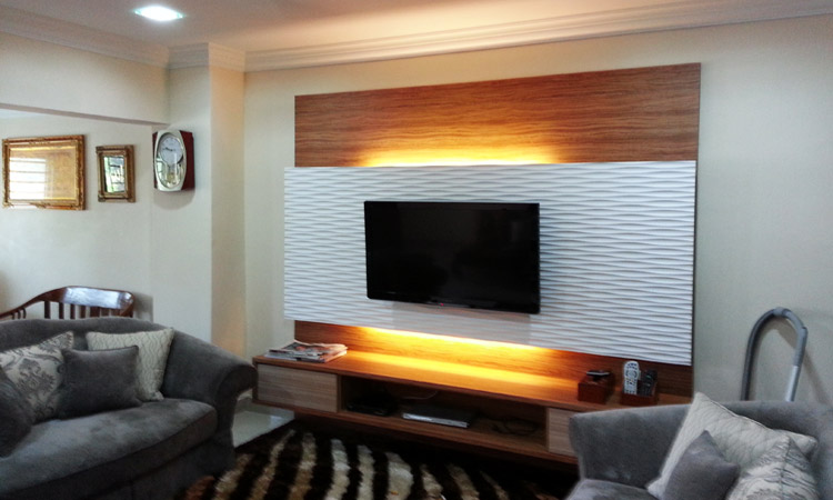 Tv cabinet design wall mount tv cabinet living room design in taman equine sri kembangan - Tv cabinet design ...
